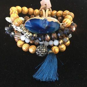 Jewelry - Wood, Agate Stone & Tassle Bracelets